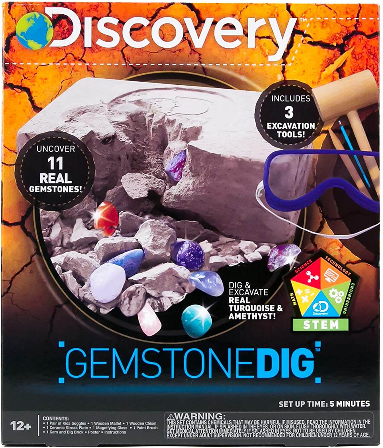 Discovery Kids Gemstone Dig Stem Science Kit by Horizon Group USA, Excavate, Dig & Reveal 11 Real Gemstones, Includes Goggles, Excavation Tools, Streak Plate, Magnifying Glass & More