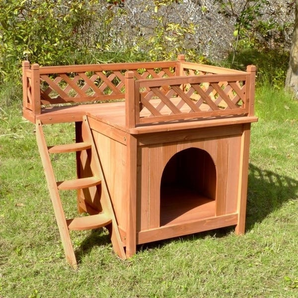 COZIWOW Elevated Open Wooden Dog Pet Bed House – Frame Furniture with Ladder for Medium to Small Pet, Indoor and Outdoor Use, Natural Wood Color,16″ H